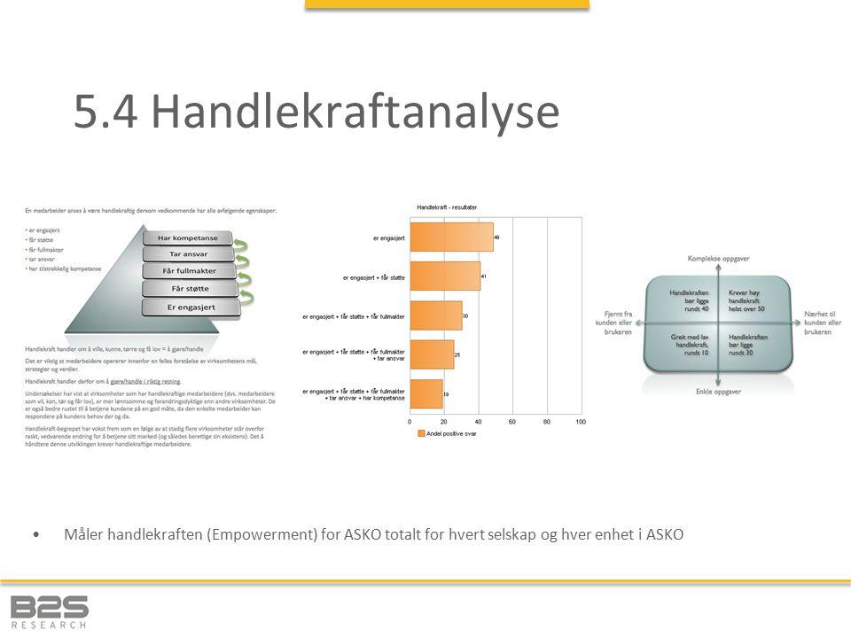 5.4 Handlekraftanalyse Måler handlekraften (Empowerment) for ASKO totalt for hvert selskap og hver enhet i ASKO.