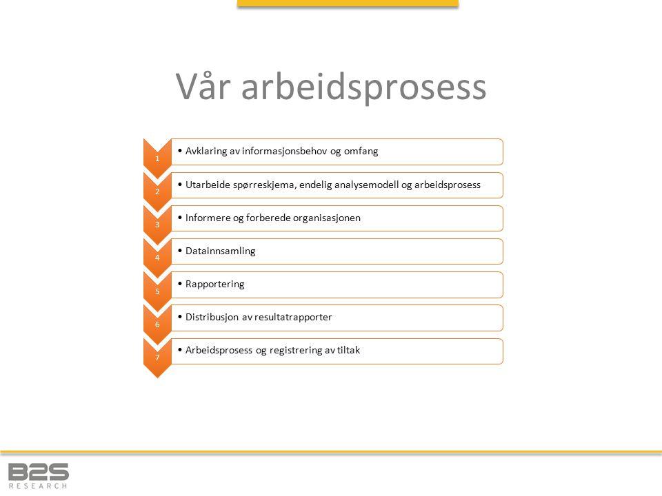 Vår arbeidsprosess Avklaring av informasjonsbehov og omfang