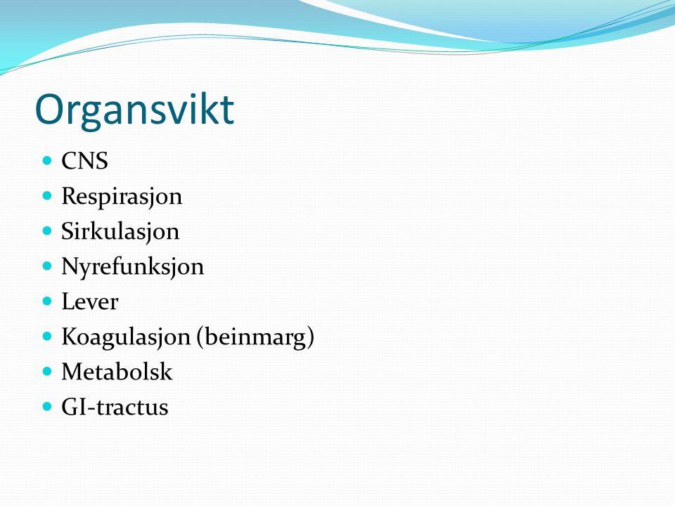 Organsvikt CNS Respirasjon Sirkulasjon Nyrefunksjon Lever