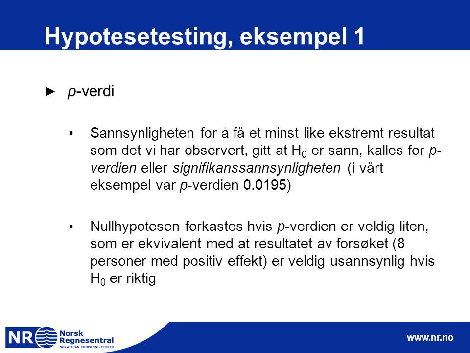 Hypotesetesting, eksempel 1