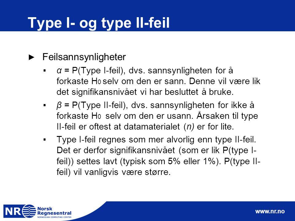 Type I- og type II-feil Feilsannsynligheter