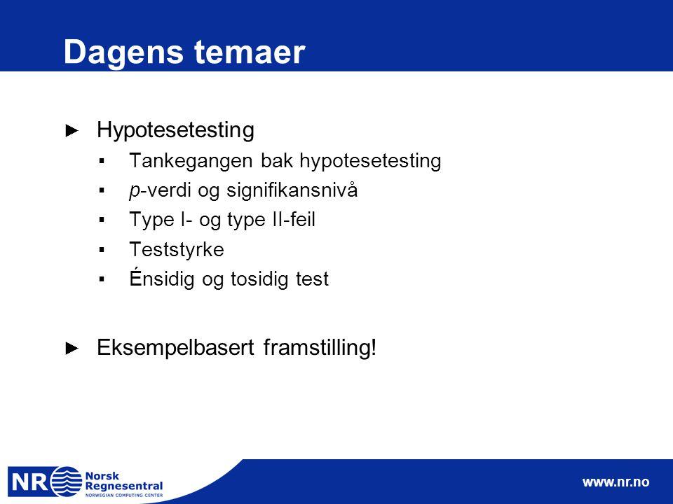 Dagens temaer Hypotesetesting Eksempelbasert framstilling!