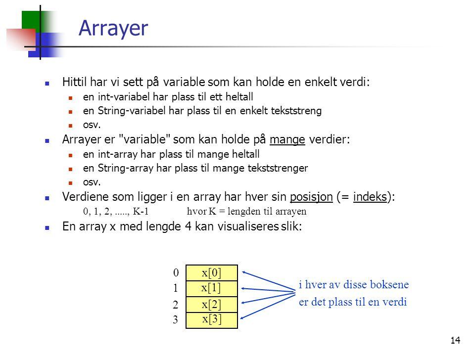 Arrayer Hittil har vi sett på variable som kan holde en enkelt verdi:
