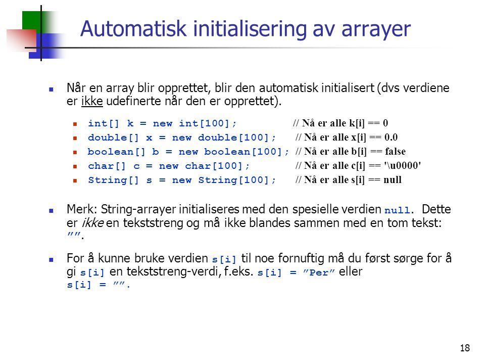 Automatisk initialisering av arrayer
