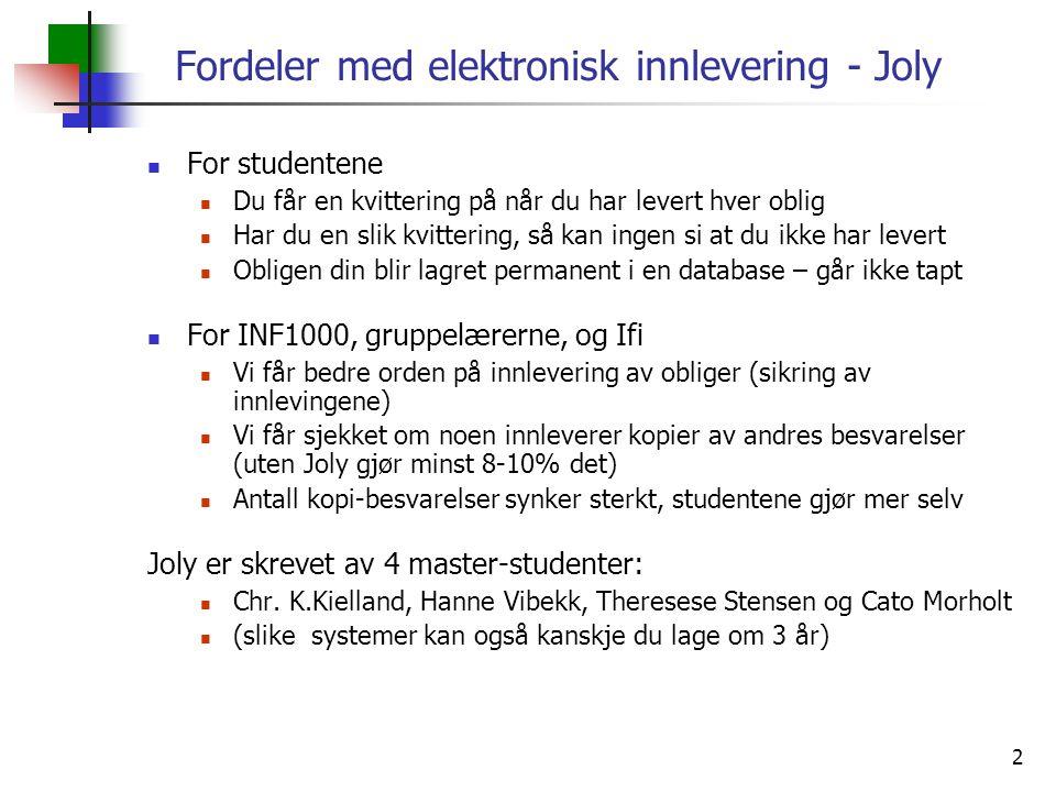 Fordeler med elektronisk innlevering - Joly