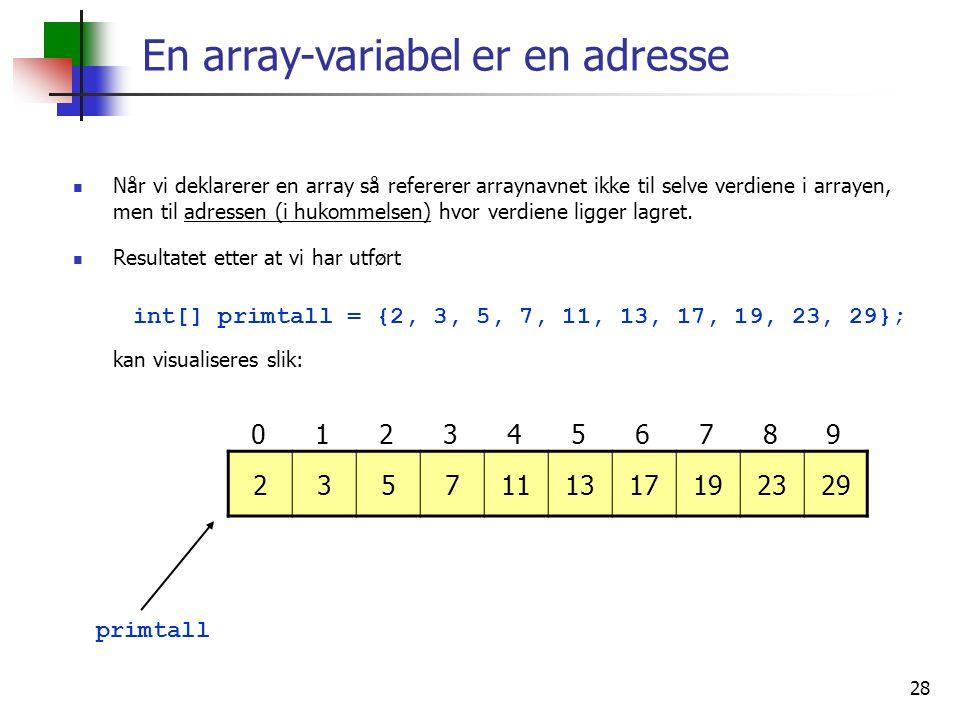 En array-variabel er en adresse