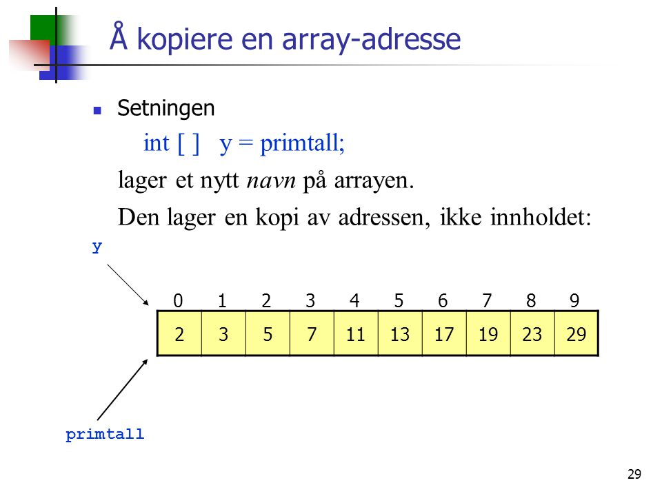 Å kopiere en array-adresse