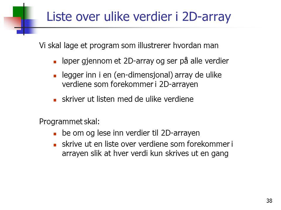 Liste over ulike verdier i 2D-array