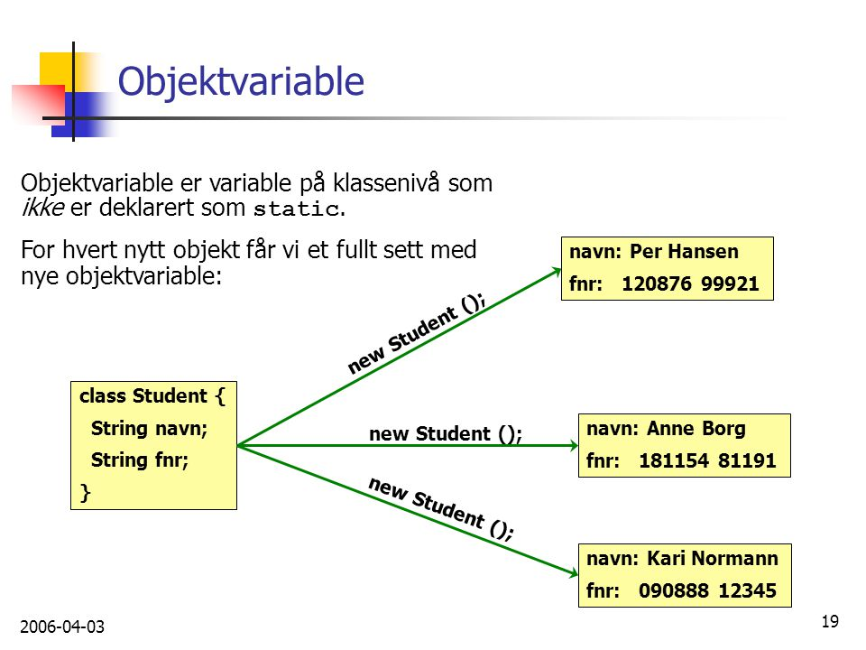 Objektvariable Objektvariable er variable på klassenivå som ikke er deklarert som static.