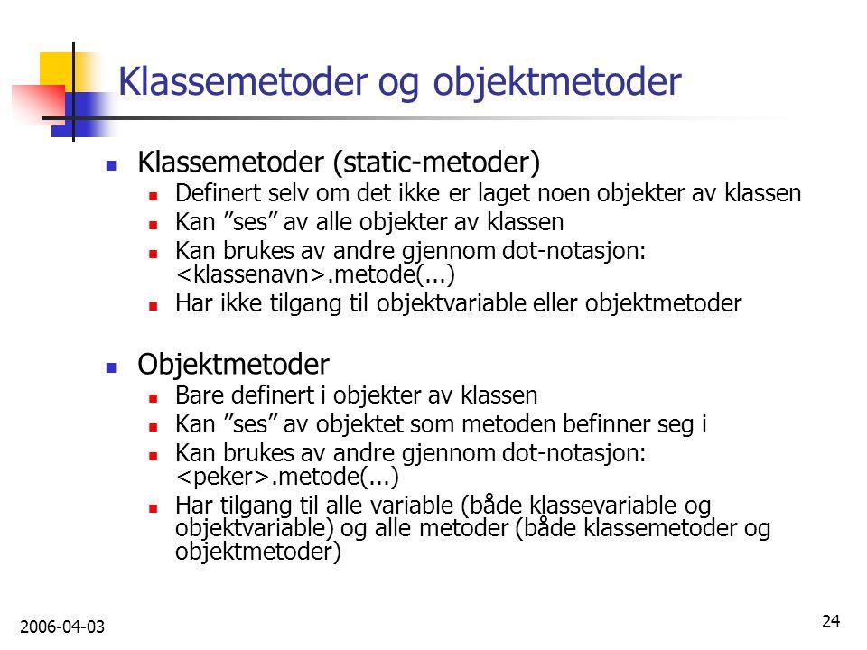 Klassemetoder og objektmetoder