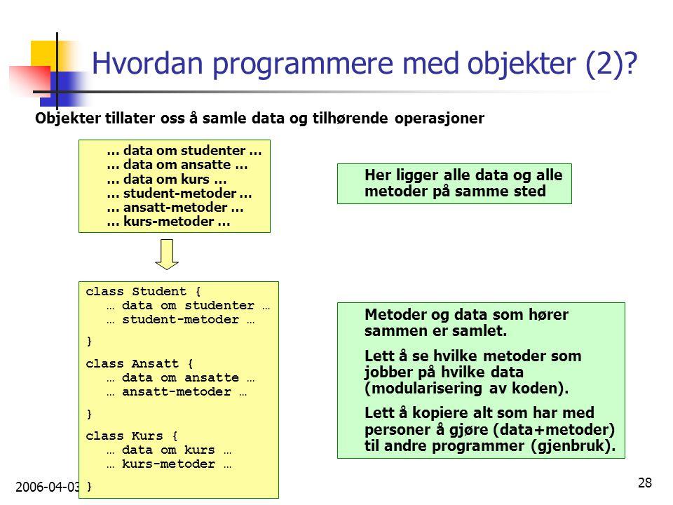 Hvordan programmere med objekter (2)