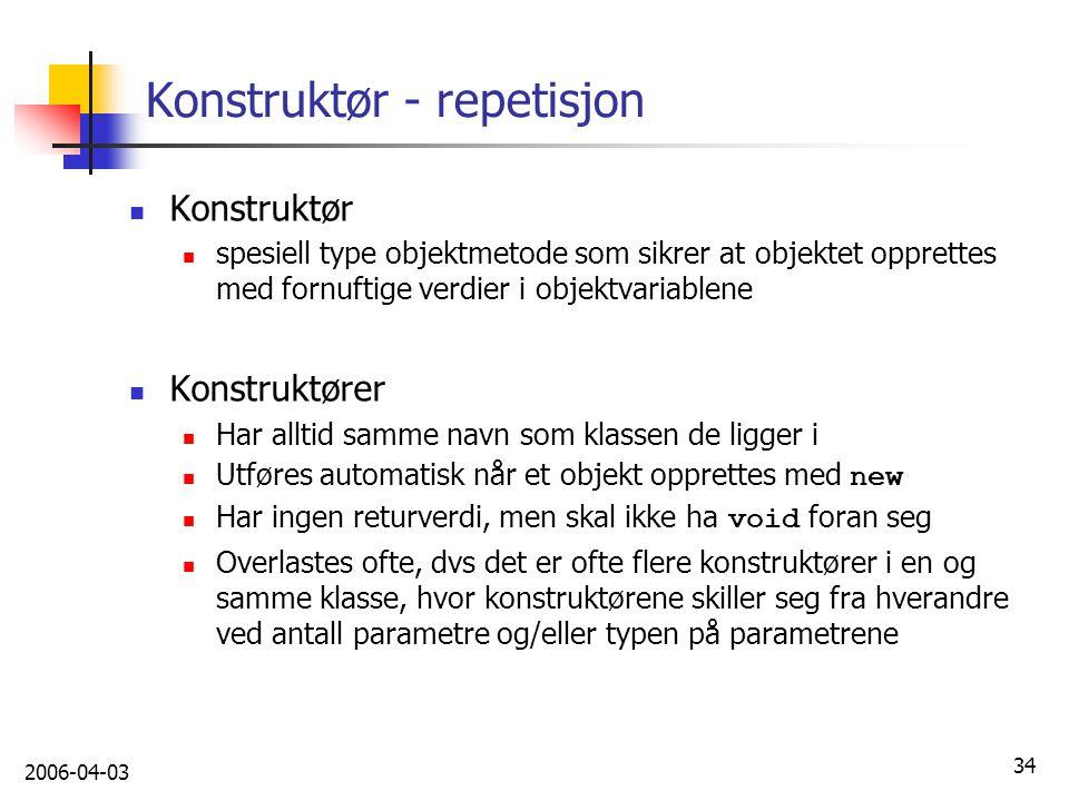Konstruktør - repetisjon
