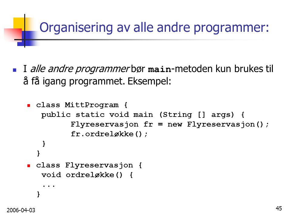 Organisering av alle andre programmer: