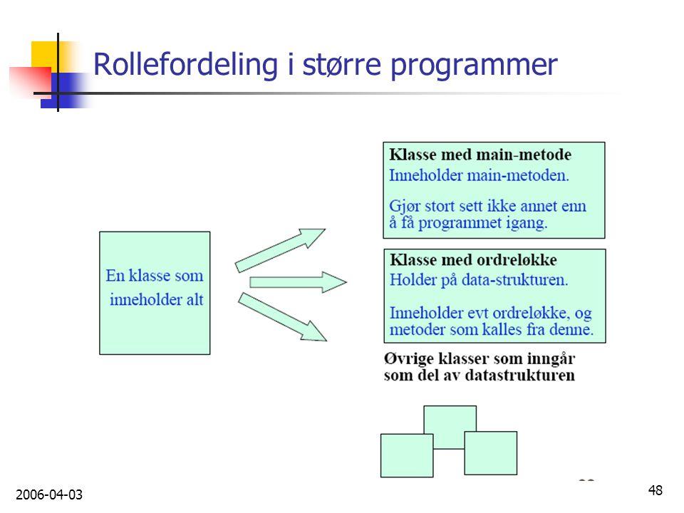 Rollefordeling i større programmer