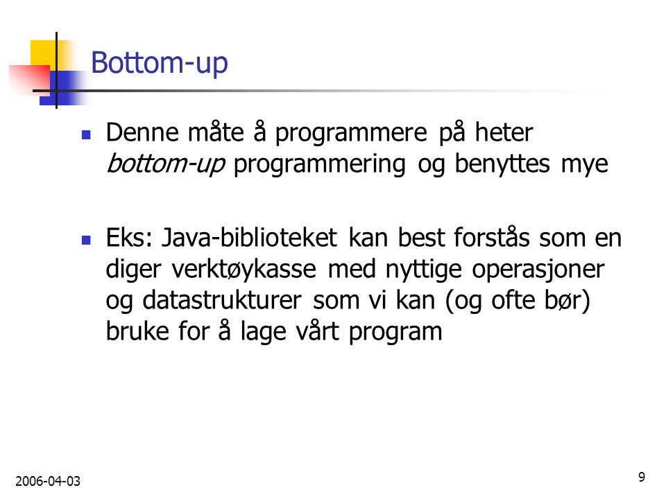 Bottom-up Denne måte å programmere på heter bottom-up programmering og benyttes mye.