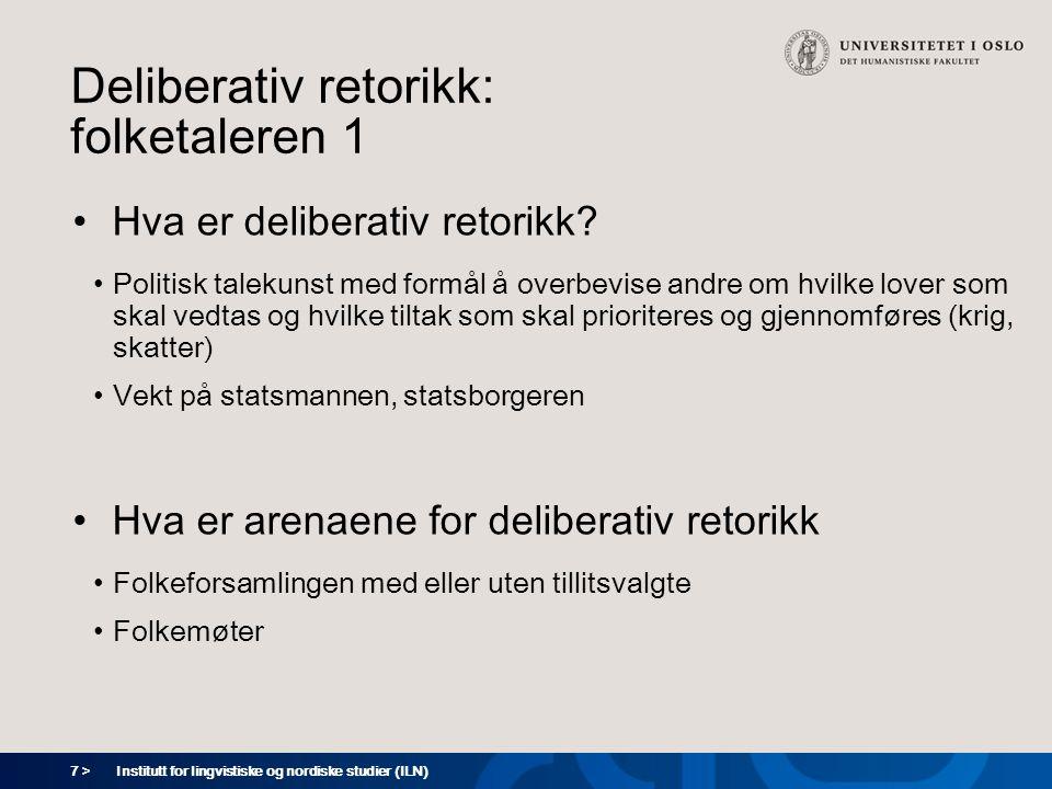 Deliberativ retorikk: folketaleren 1