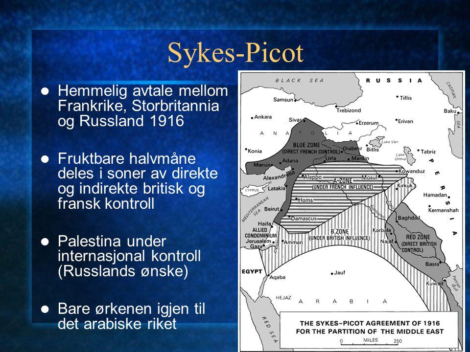 Sykes-Picot Hemmelig avtale mellom Frankrike, Storbritannia og Russland 1916.