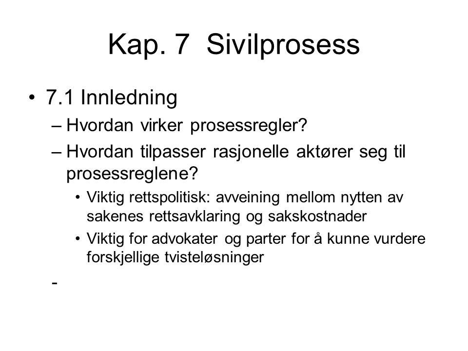 Kap. 7 Sivilprosess 7.1 Innledning Hvordan virker prosessregler