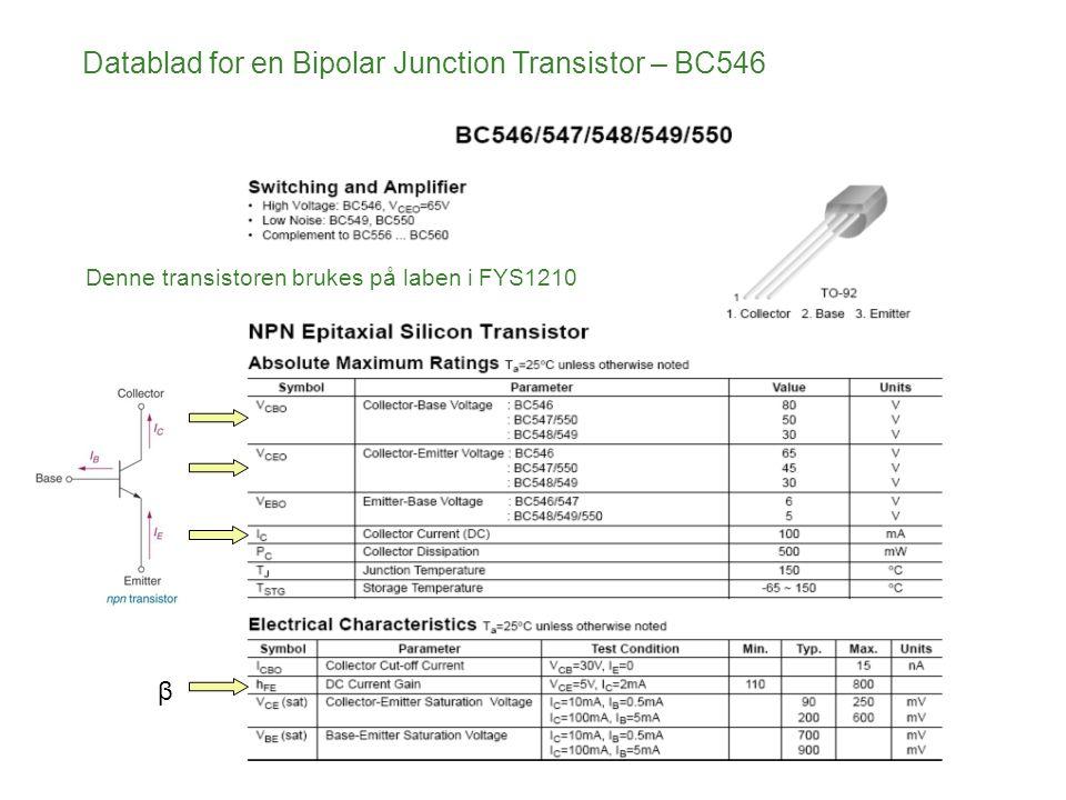 Denne transistoren brukes på laben i FYS1210