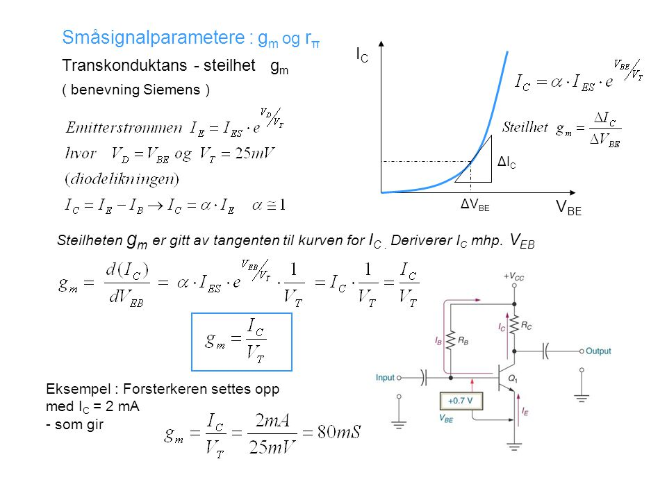 Småsignalparametere : gm og rπ