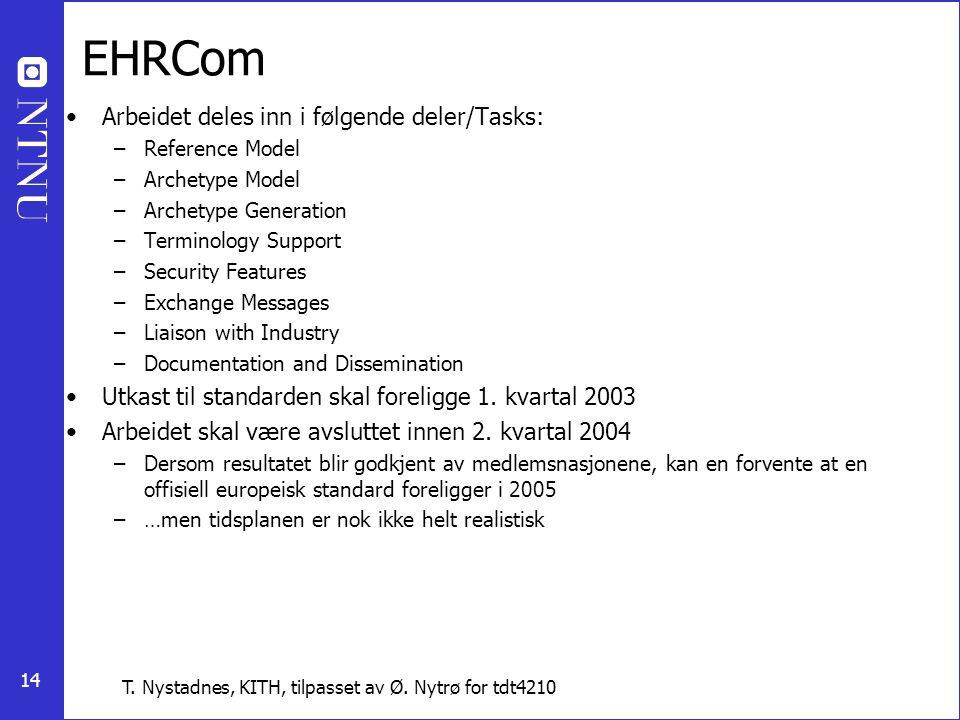 EHRCom Arbeidet deles inn i følgende deler/Tasks: