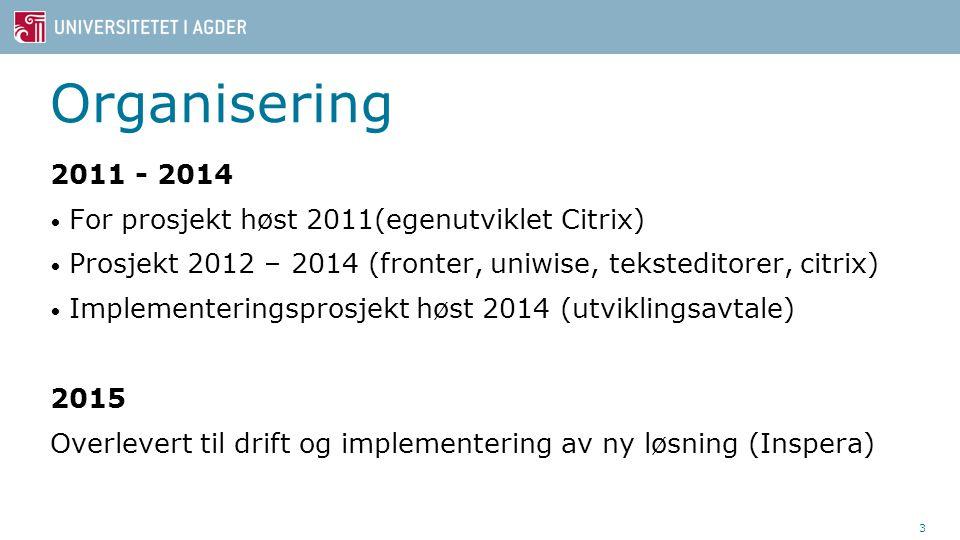 Organisering 2011 - 2014 For prosjekt høst 2011(egenutviklet Citrix)