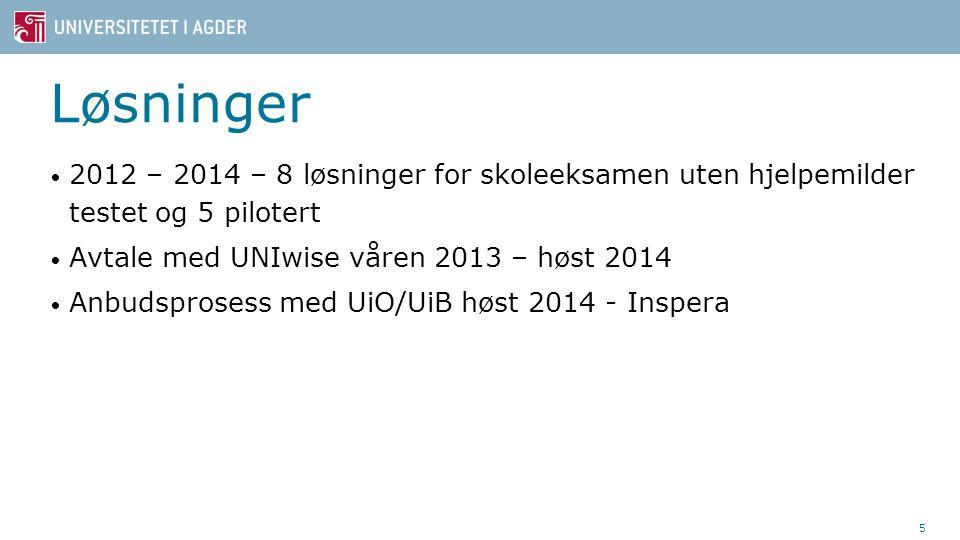 Løsninger 2012 – 2014 – 8 løsninger for skoleeksamen uten hjelpemilder testet og 5 pilotert. Avtale med UNIwise våren 2013 – høst 2014.