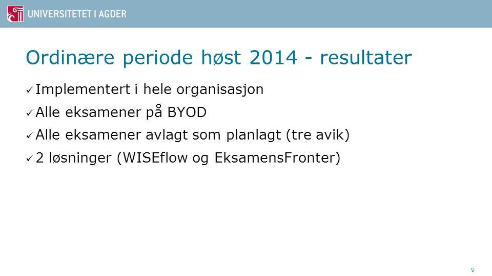 Ordinære periode høst 2014 - resultater