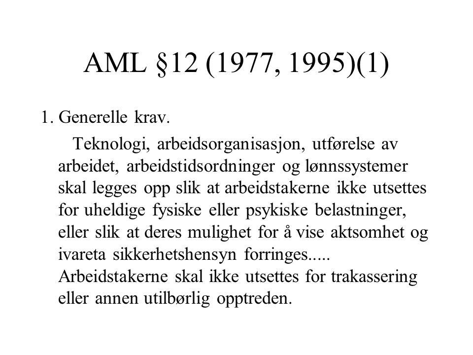 AML §12 (1977, 1995)(1) 1. Generelle krav.