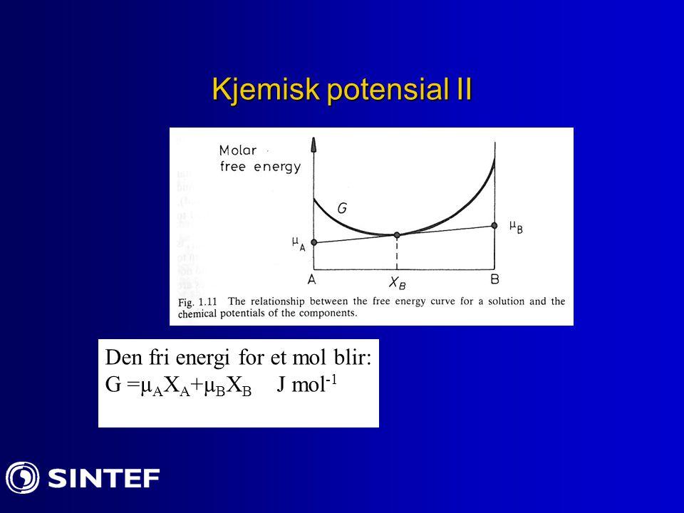 Kjemisk potensial II Den fri energi for et mol blir: