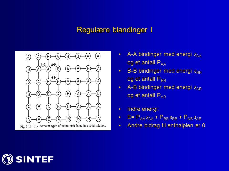 Regulære blandinger I A-A bindinger med energi AA og et antall PAA