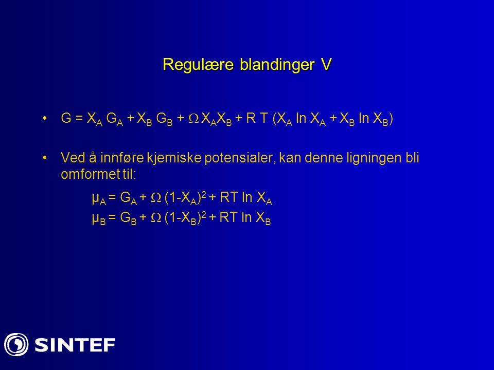 Regulære blandinger V µA = GA +  (1-XA)2 + RT ln XA