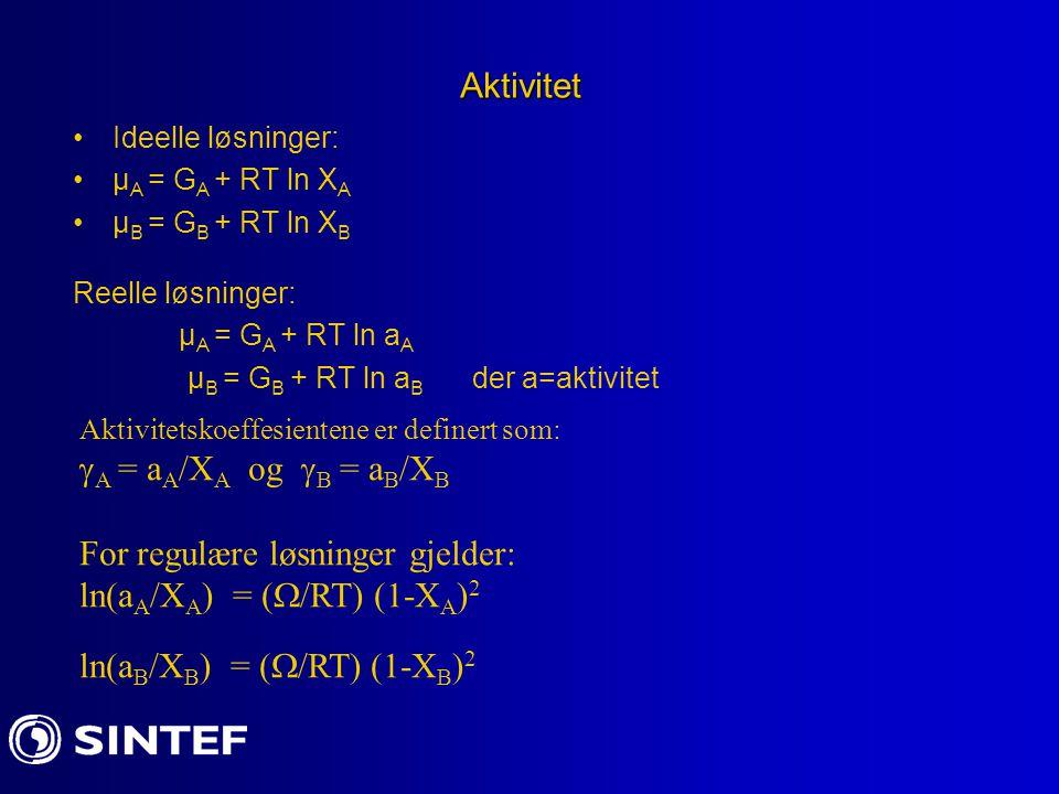 For regulære løsninger gjelder: ln(aA/XA) = (/RT) (1-XA)2
