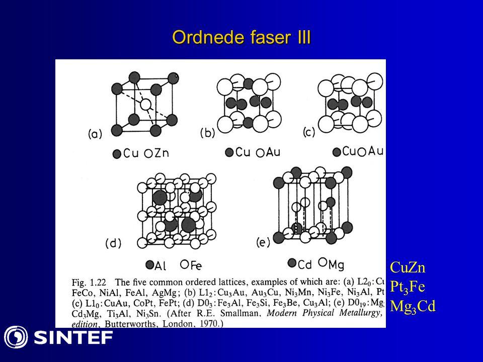 Ordnede faser III CuZn Pt3Fe Mg3Cd