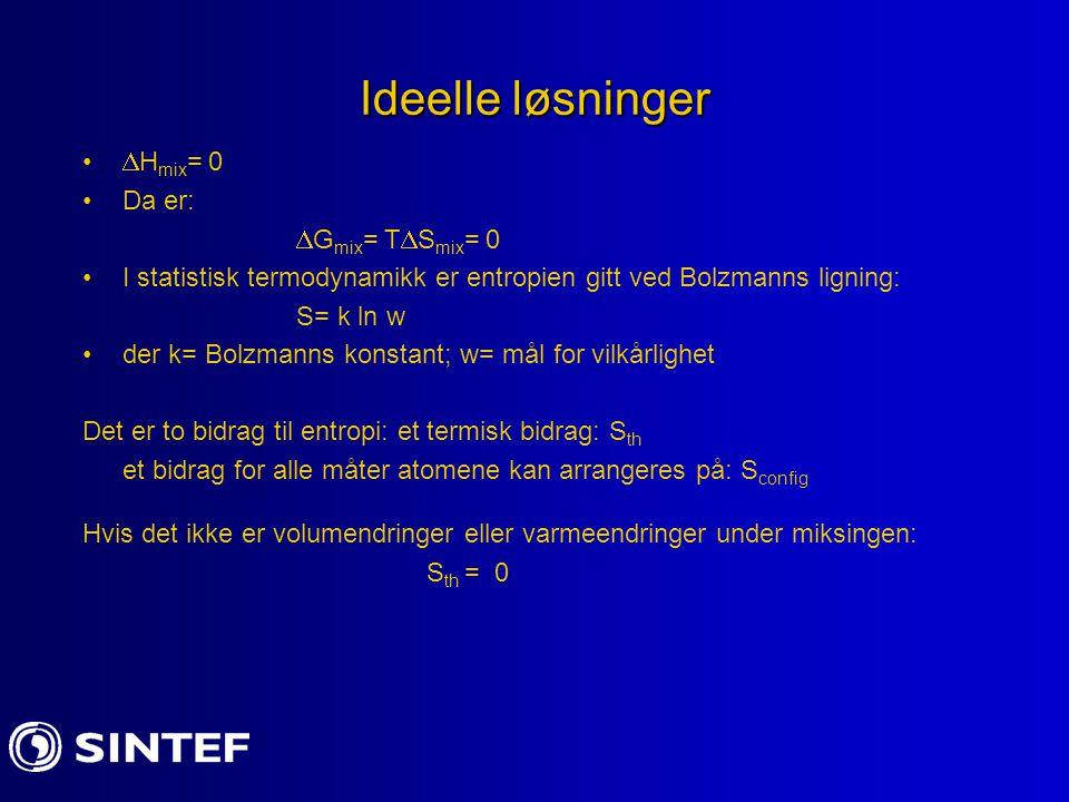 Ideelle løsninger Hmix= 0 Da er: Gmix= TSmix= 0