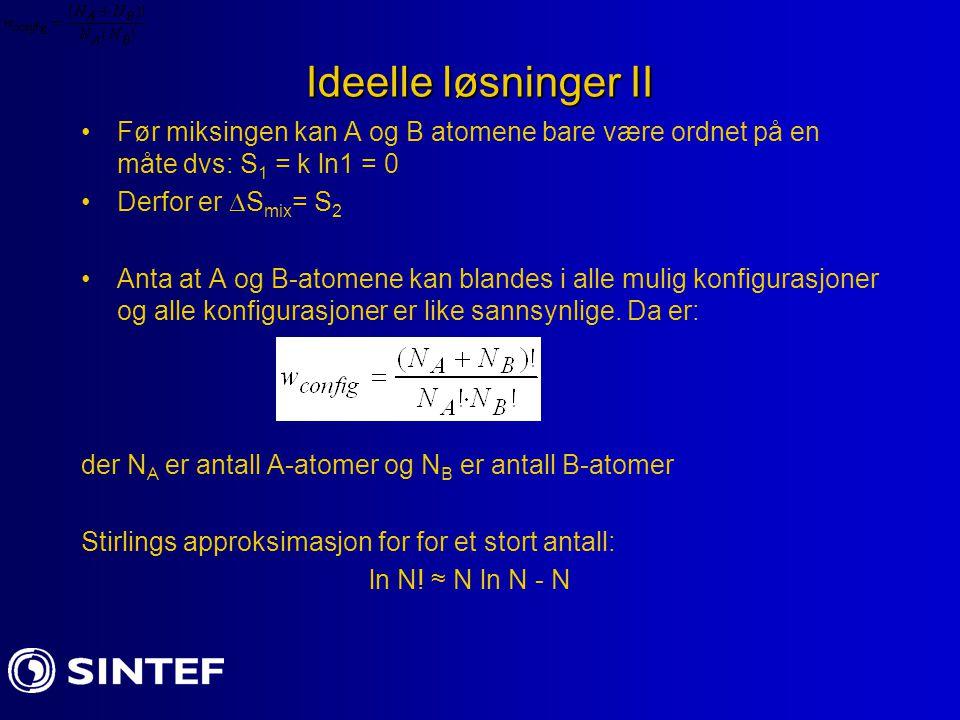 Ideelle løsninger II Før miksingen kan A og B atomene bare være ordnet på en måte dvs: S1 = k ln1 = 0.