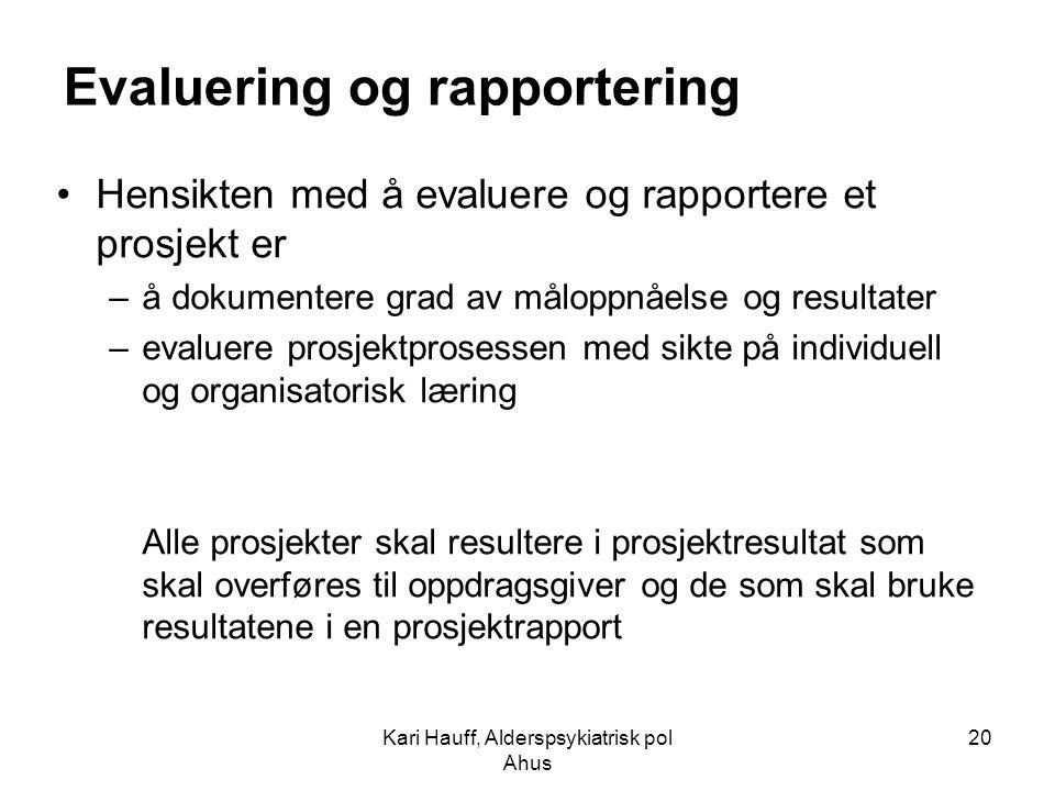 Evaluering og rapportering