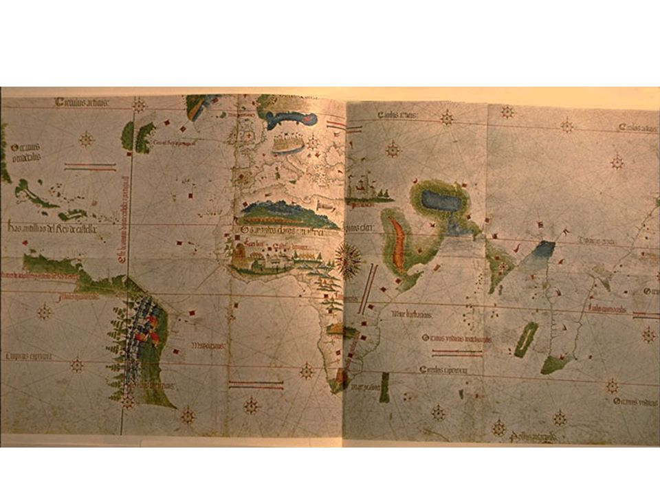 TITLE: Chart for the navigation of the islands lately discovered in the parts of India, known as the Cantino World Map DATE: 1502 AUTHOR: unknown DESCRIPTION: As the Juan de La Cosa map (Slide #308) graphically dramatizes the impact of Columbus on Renaissance Europe, the Cantino planisphere glorifies the achievements of the great Portuguese navigators of the same period, including Vasco da Gama, Cabral, and the Corte-Real brothers.