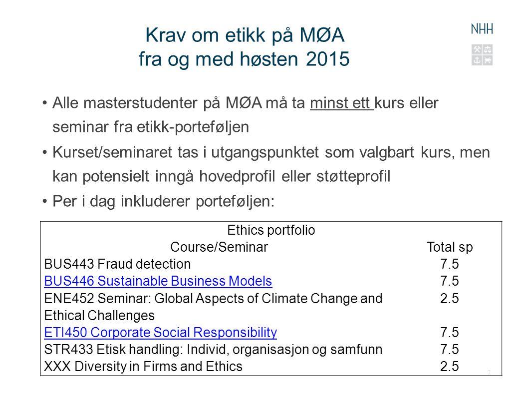 Krav om etikk på MØA fra og med høsten 2015