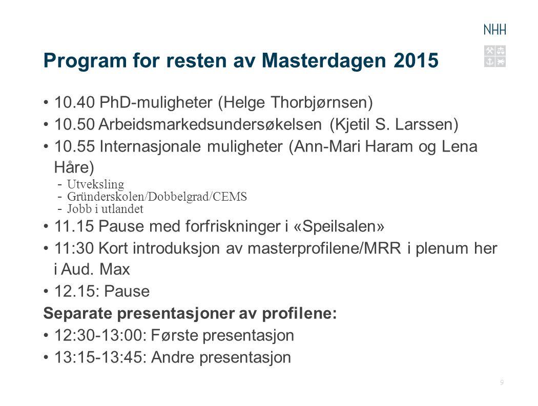 Program for resten av Masterdagen 2015