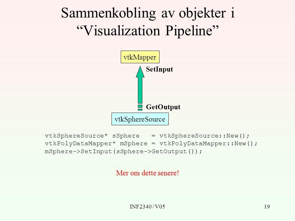 Sammenkobling av objekter i Visualization Pipeline