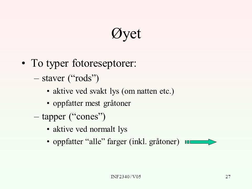 Øyet To typer fotoreseptorer: staver ( rods ) tapper ( cones )