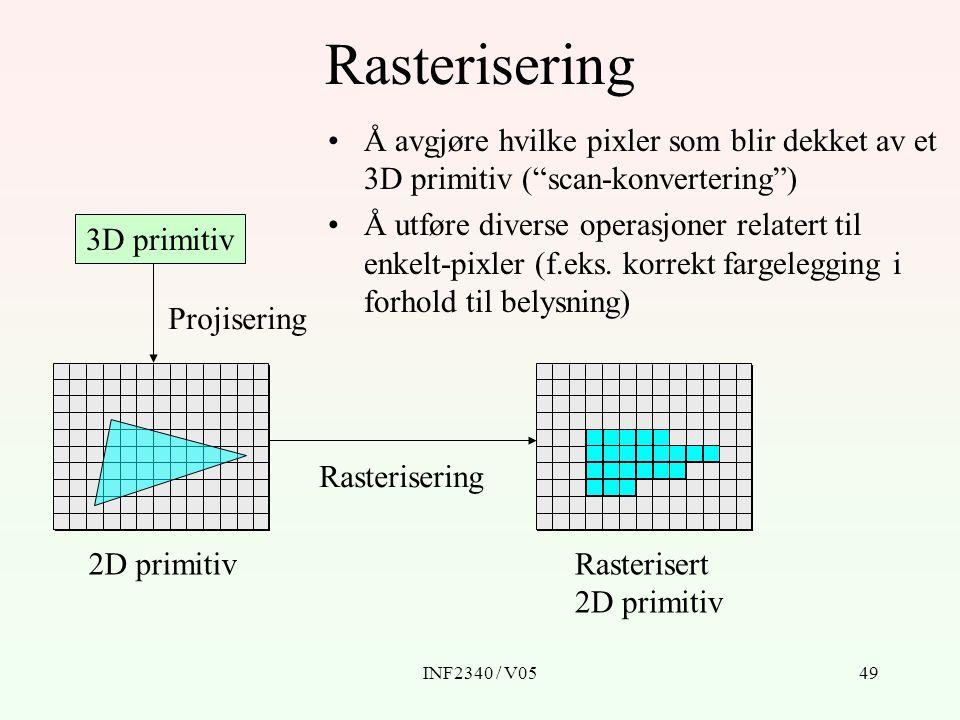 Rasterisering Å avgjøre hvilke pixler som blir dekket av et 3D primitiv ( scan-konvertering )