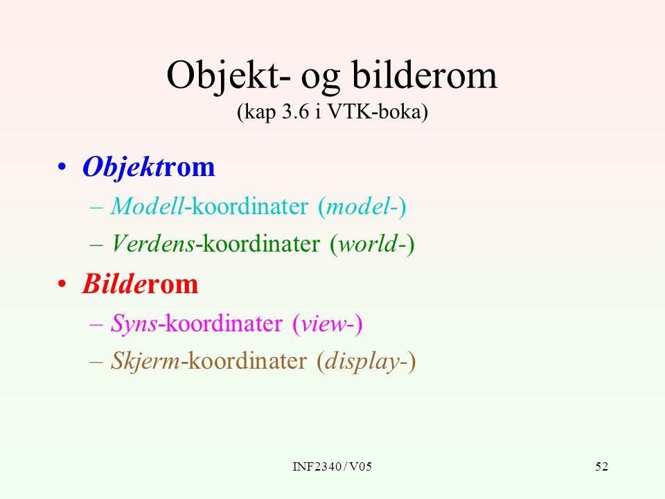 Objekt- og bilderom (kap 3.6 i VTK-boka)