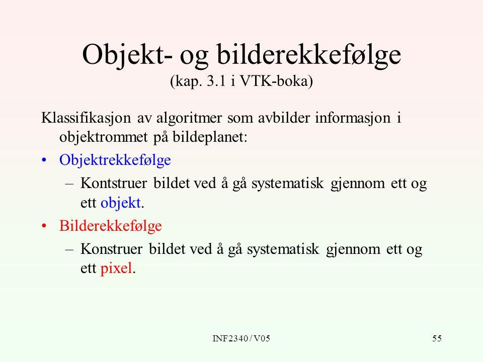 Objekt- og bilderekkefølge (kap. 3.1 i VTK-boka)
