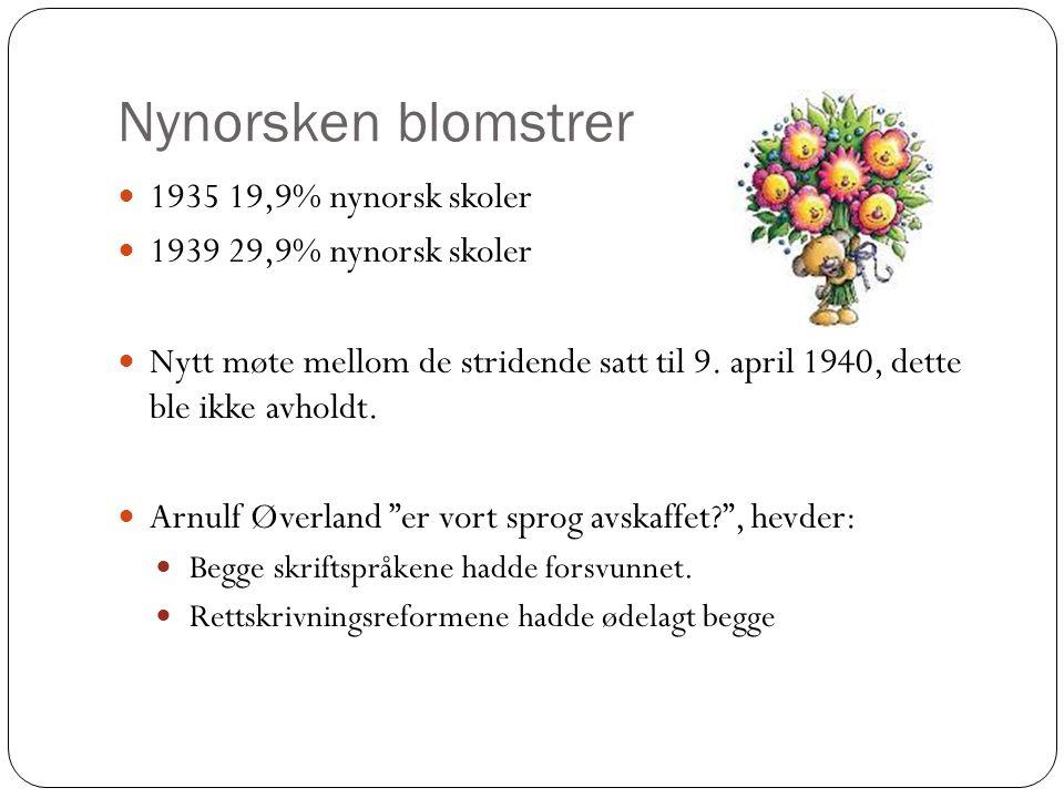 Nynorsken blomstrer 1935 19,9% nynorsk skoler