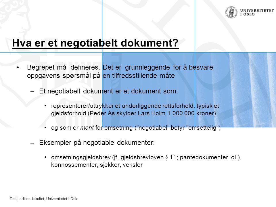 Hva er et negotiabelt dokument
