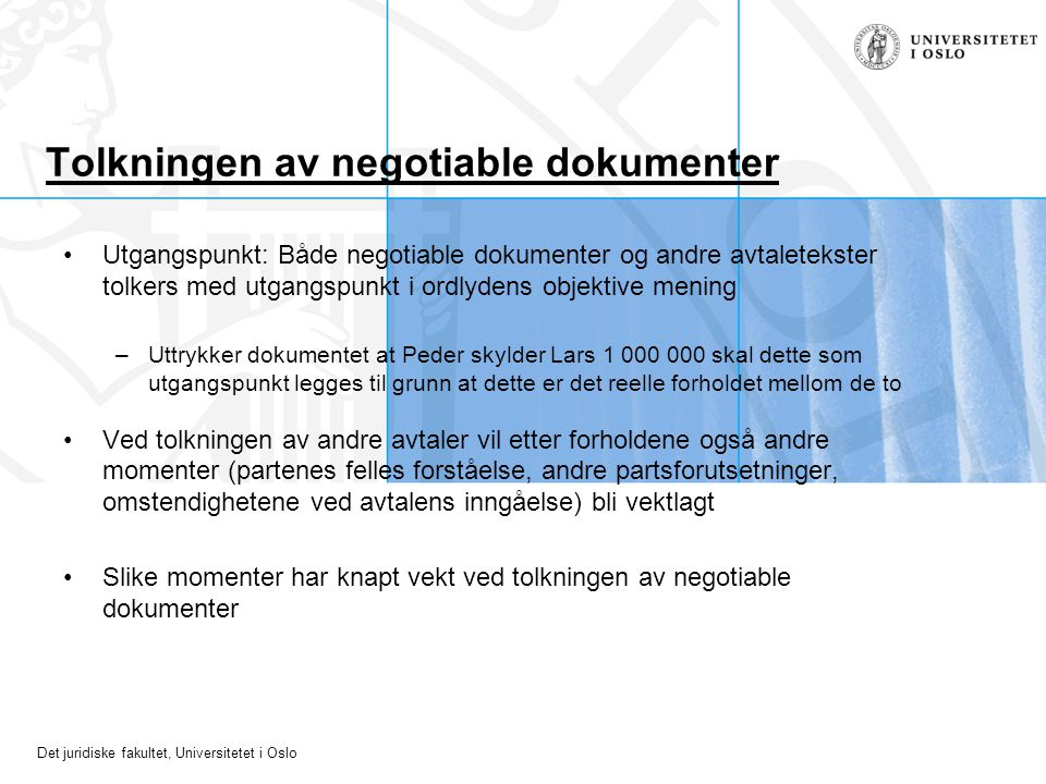 Tolkningen av negotiable dokumenter