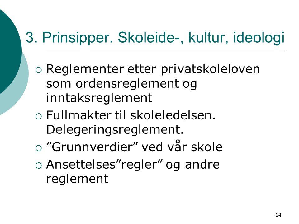 3. Prinsipper. Skoleide-, kultur, ideologi