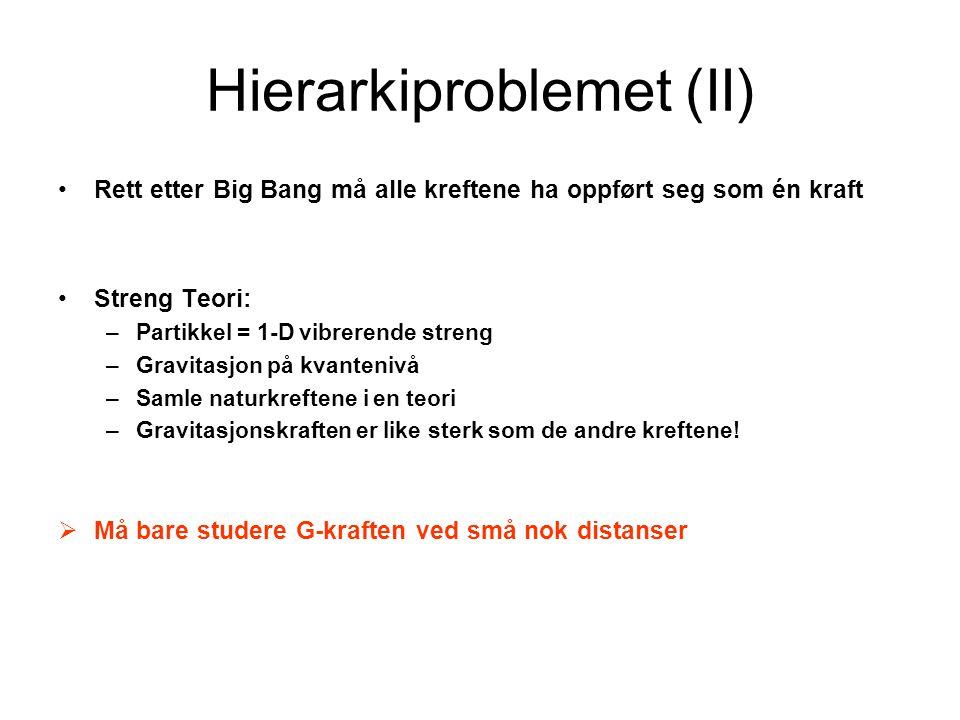 Hierarkiproblemet (II)